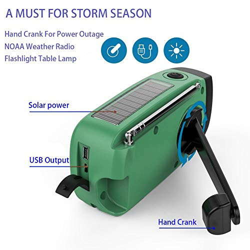 Emergency Hand Crank Self Powered AM/FM NOAA Solar Weather Radio with LED Flashlight, 1000mAh Power Bank Compatible for iPhone/Smart Phone by LeVcoecam (Image #5)