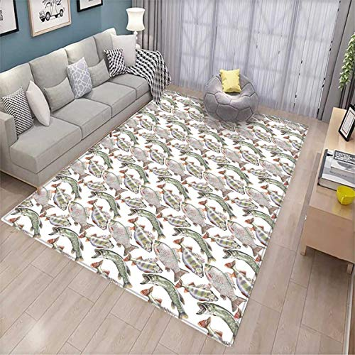 (Fishes Door Mats for Inside Watercolor Common Carp Perch and Bass Freshwater Animals Themed Seafood Drawing Bath Mat for tub Bathroom Mat)
