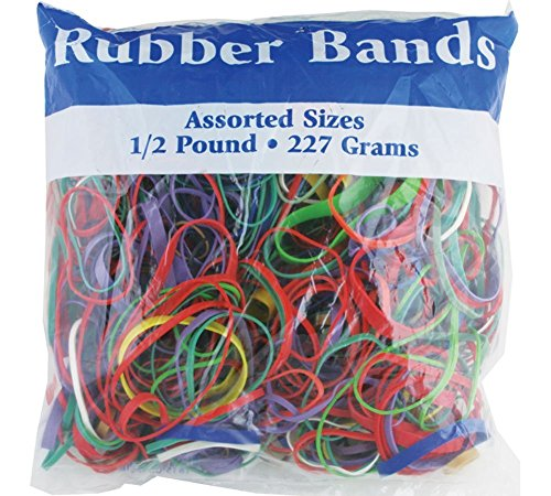 BAZIC 465  Multicolor Rubber Bands for School, Home, or Office (Assorted Dimensions 227g/0.5 lbs) Acco Rubber Band Ball