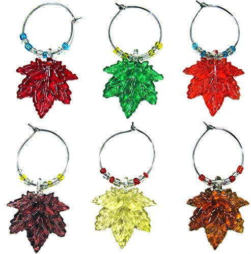Thanksgiving Glass (RiverView Enterprise MAPLE LEAF WINE GLASS CHARMS (tag/markers) set of 6)