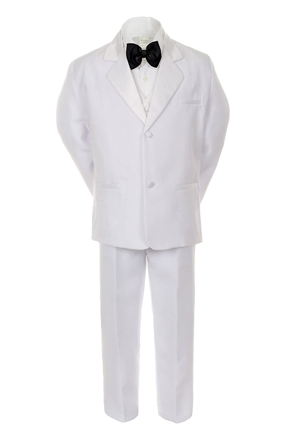 4T Formal Boy White Suit Notch Lapel Satin Tuxedo Kid Baby Free Black Bow Tie