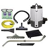 used back pack vacuum - ProTeam Commercial Backpack Vacuum Cleaner, ProVac FS 6 Vacuum Backpack with HEPA Media Filtration and Residential Cleaning Service Kit, 6 Quart, Corded