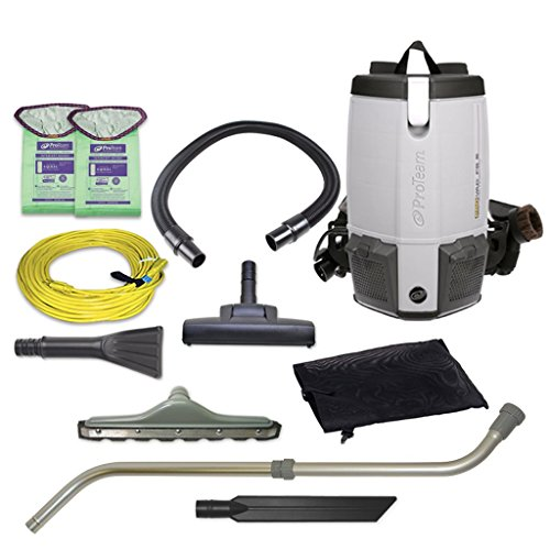 ProTeam Commercial Backpack Vacuum Cleaner, ProVac FS 6 Vacuum Backpack with HEPA Media Filtration and Residential Cleaning Service Kit, 6 Quart, Corded (C2401 Hoover)