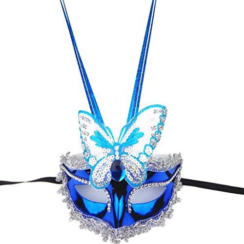 Iusun Colorful Fluorescent Peacock Butterfly Raindrop Mask Flash Glossy Halloween Xmas Party Prop Princess Mask (Random 2)