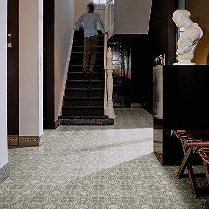 PVC Bodenbelag Steinoptik 200 Fliesenoptik Retro grau 300 und 400 cm Breite verschiedene Gr/ö/ßen Meterware Gr/ö/ße: 2,5 x 4 m