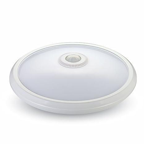 Lámpara de techo blanco con sensor de movimiento, 360 °, 12 W blanco frío