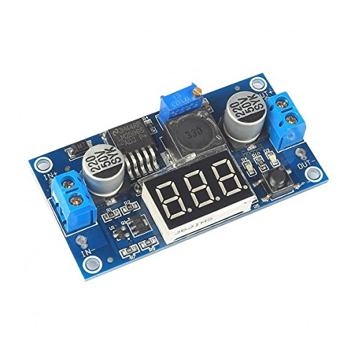 Price comparison product image SainSmart LM2596 Adjustable Voltage Regulator 4.0-40V to 1.25-37V DC 36V to 24V to 12V to 5V Variable Volt Power Supply Car Motor Buck Step Down Converter with Red Voltmeter Display
