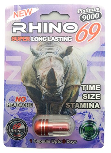 RHINO 69 Platinum 9000 SUPER LONG LASTING Best Natural Male Enhancer Pills One Capsule Up to 9 days ( 5 Pills (Natural Rhino)
