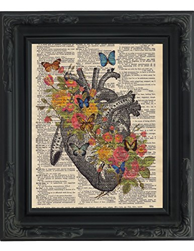 Dictionary Art Print Human Heart With Victorian Flowers