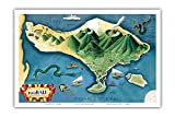 Pacifica Island Art Map of Bali, Indonesia - Tanáh (Tanah) Lot Balinese Temple - Vintage Illustrated Map by Miguel Covarrubias c.1930s - Master Art Print - 12in x 18in