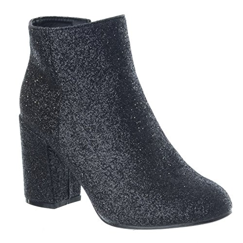Mujer Purpurina Bloque Grueso Botas Tacón Bajo Chelsea Zapatos Fiesta Talla