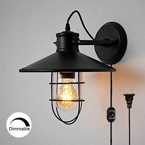 stglighting Vintage dimmable Wall Light Retro Industrial Edison Glass Lampshade bulb included Plug-In Wall Sconce Iron Shade Wall Lamps Sconce Fixtures For Loft Bar Pub Hotel - Iron Wall Mounted Sconce