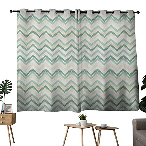 NUOMANAN Blackout Lined Curtains Aqua,Sketchy Blurry Abstract Zig Zag Chevron Shapes Retro Beige,Pale Pink Turquoise and Petrol Blue,Complete Darkness, Noise Reducing Curtain 42