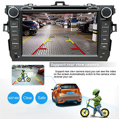 NVGOTEV Car Audio Stereo Headunit Fits for Toyota Corolla 2007 2008 2009 2010 2011 DVD Player Radio 8 Inch HD Touch Screen GPS Navigation with Bluetooth Steering Wheel Control 16GB Map Card