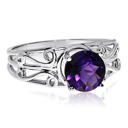 Amethyst Ring Filigree Gold White - 14k White Gold Round Amethyst Filigree Ring (Size 4.5)
