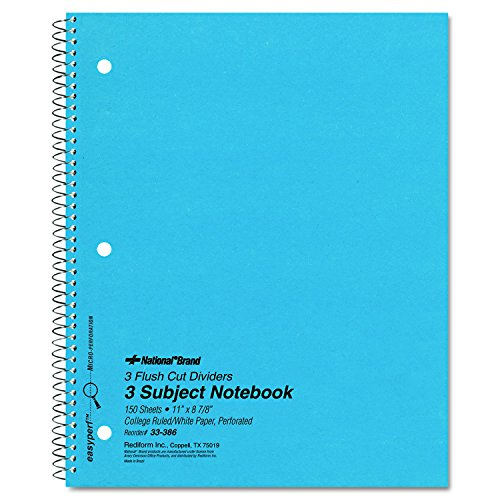 (National 33386 3 Subject Wirebound Notebook, College Rule, 11 x 8 7/8, White, 150)