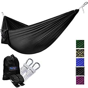 Yes4All Single Lightweight Camping Hammock with Strap & Carry Bag – Nylon Parachute Hammock / Lightweight Portable Hammock for Camping, Hiking (Black)