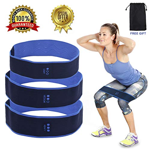 fanson FIT Hip Bands,Hip Resistance Band Legs Butt,Booty Resistance Workout Hip Exercise Bands, Exercise Band + 3 Resistance Loops (48lb)