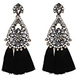 Yacht & Smith Vintage Stone Drop Earrings with Fringe Tassels