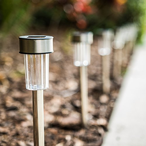 Logical Luxury Decorative Outdoor Solar Garden Lights (10 Pack) enhances Pathways driveways patios and gazebos; Classic Simple Stainless Steel Design; Soft White LED Powered; Water/Weatherproof by Logical Luxury (Image #8)