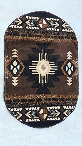 Champion Rugs Southwest Native American Indian Chocolate Brown Area Rug (3 Feet X 5 Feet Oval)