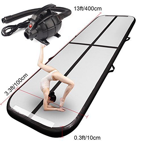 FBSPORT Airtrick Inflatable Gymnastics Air Mat 13ft Length Air Track Tumbling Mat with Electric Air Pump for Kids/Exercise/Training/Home/Park ()