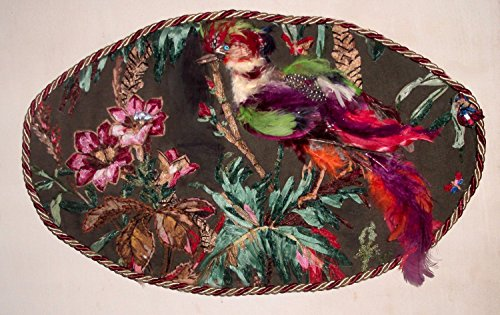 SALE Ribbon and Stumpwork Embroidery of Pheasant in Tropical Paradise with Butterfly Large 3-D Art VintageTommy Hilfiger skirt.
