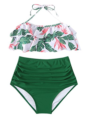 SOLY HUX Women's Ruffle Halter Top with Ruched Bottom 2 Piece Bikini Set Green L