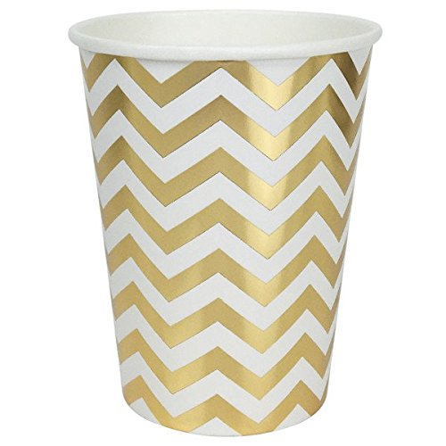 Just Artifacts Party Paper Cups - (12pcs) Metallic Gold Chevron - Paper Decorations for Birthday Parties, Weddings, Baby Showers, and Life Celebrations!