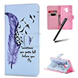 Galaxy A8 2018 Stand Case,Samsung Galaxy A8 2018 Wallet Case,SKYMARS Beautiful Art Painted Romantic Design Premium PU Leather Flip Kickstand Cards Slot Cash Pockets Wallet Magnetic Closure TPU Inner Wrist Strap Shockproof Case for Samsung Galaxy A8 2018 Grey Feather Birds