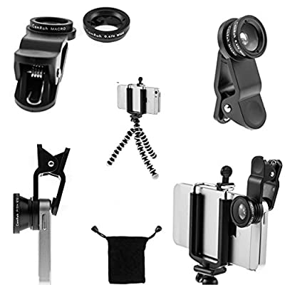 iPhone Camera Lens Kit by CamRah, 3 Universal Lenses, Fisheye, Wide Angle and Macro, 2 Lens Clips, Octopus Tripod, storage bag, and photo tips.
