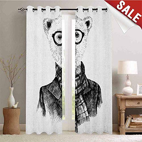(Animal, Drapes for Living Room, Hand Drawn Monochrome Sketch Style Hipster Bear with Jacket Scarf Glasses, Window Curtain Fabric, W84 x L108 Inch Black Grey and White )
