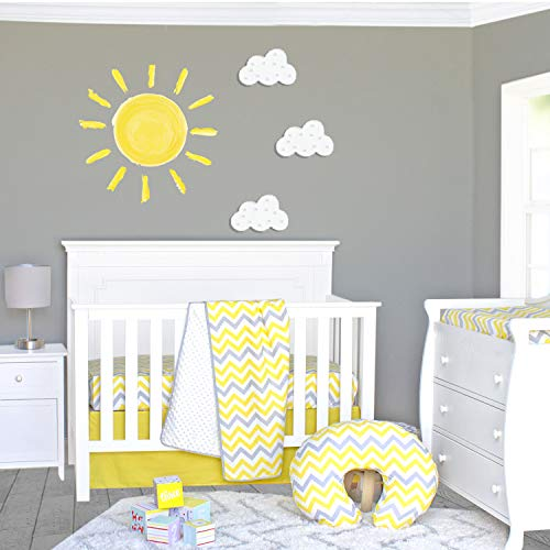 Pam Grace Creations 3 Piece Sunshine Yellow and Gray Chevron Crib Bedding Set