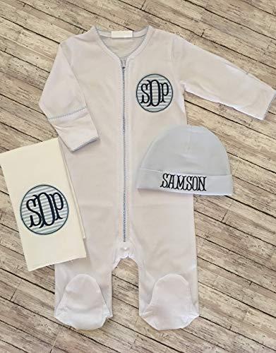 Apparel Layette (Baby Boy Footed Sleeper Newborn Hat Burp Cloth Baby Boy Monogram Sleeper Infant Boy Burp Cloth Personalized Baby Gift Monogram Baby Shower Gift Layette Gift)