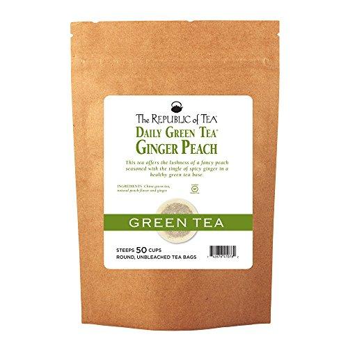 Ginger Pear - The Republic Of Tea Ginger Peach Green Tea, 50 Tea Bags, Ripe Peach Spicy Ginger Gourmet Green Tea