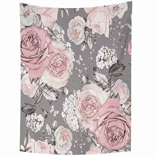 Tapestry Franciscan - AlliuCoo Wall Tapestries 50 x 60 Inches Abstract Pink Flowers Leaves Gray Watercolor Floral Pattern Rose Pastel Color Artistic Home Decor Wall Hanging Tapestry Living Room Dorm