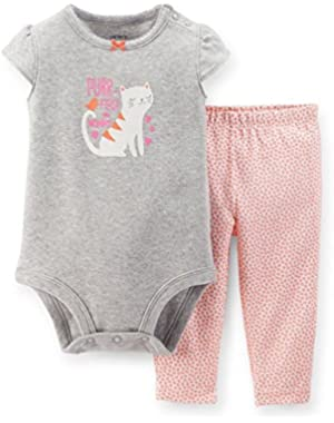 Baby Girls' 2 Piece Purr-fect Like Mommy Kitty Legging Set (3 Months)