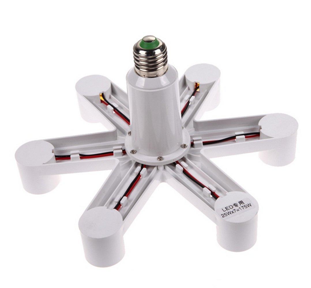LingStar 1 To 7 E27 LED Lamp Bulbs Socket Splitter Adapter Holder Base For Photo Studio Home Building Party 1 to 7, 2pcs