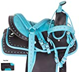 "AceRugs Youth Western Saddles for Horses Teal Crystal Synthetic Show Trail TACK Sizes 10"" 12"" 13"""