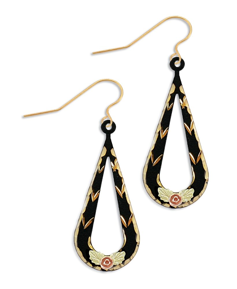 Black Enamel Landstroms Black Hills Earrings with 10K Gold Trim