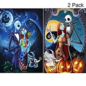 2 Pack 5D Full Drill Diamond Painting Kit, UNIME DIY Diamond Rhinestone Painting Kits for Adults and Beginner Embroidery Arts Craft Home Decor, 16 X 12 Inch (Halloween Skull Jack and Sally)