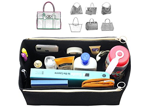 ([Fits Mul.berry Bags] Felt Tote Organizer (w/Double Zipper Pockets), Bag in Bag, Wool Purse Insert, Customized Tote Organize, Cosmetic Makeup Diaper Handbag)