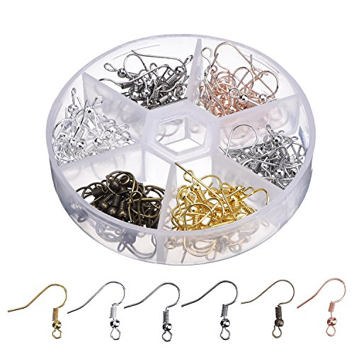 Outus Earring Hooks Ear Wires Stainless Steel Fish Hook with Storage Case, 6 Colors, 120 Pieces