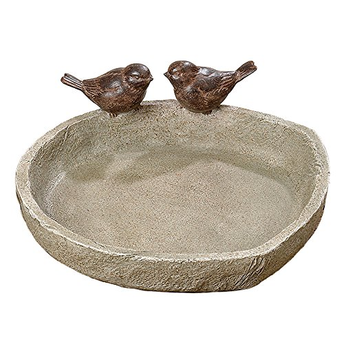 Sparrow Stones (Bird Bath with 2 Sparrows, Off White Stone Finished Basin and Brown, All Weather Poly Resin, 8 1/4 inches Diameter (21cm), By Whole House Worlds)