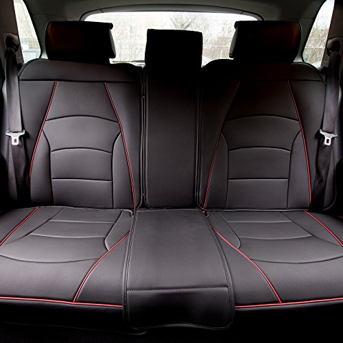 FH Group PU205013 Ultra Comfort Leatherette Split Bench Seat Cushions, Black w. Red Trim Color- Fit Most Car, Truck, SUV, or Van
