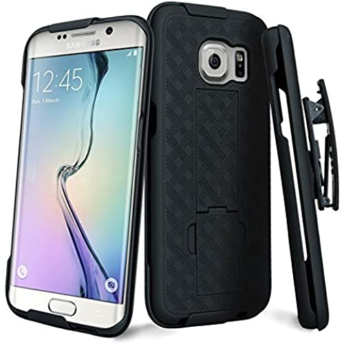 Samsung Galaxy S7 Edge Holster Case - Wydan Matte Black Swivel Slim Belt Clip Shell Holster Kickstand Combo Armor Sales