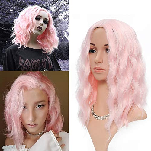 Halloween Wigs pink Womens Short Wig Bob Curly Wavy Synthetic Cosplay Wig Pastel Wig for Girl Costume Wigs light pink Color
