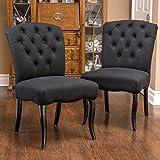 Jaelynn Black Scroll Fabric Dining Chairs (Set of 2)