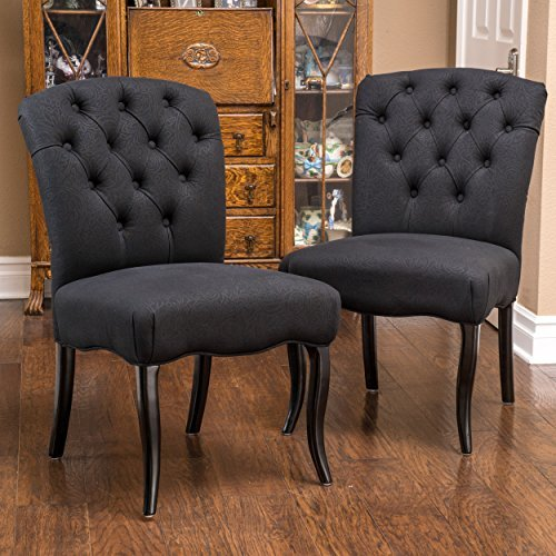 (Christopher Knight Home 295536 Hallie Dining Chair (Set of 2), Black Scroll)