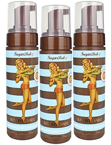 SugarBaby Sun Believable Dark Bronze Self Tanner Mousse, 6.08 Fl. Ounce (Tri-Pack)